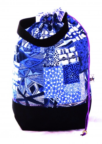 "Stricktasche ""Blue Quilt"